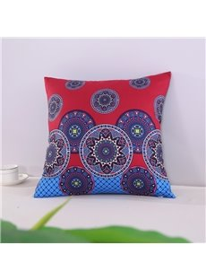 Chic Mandala Pattern Exotic Style Blue Decorative Square Cotton Throw Pillowcases