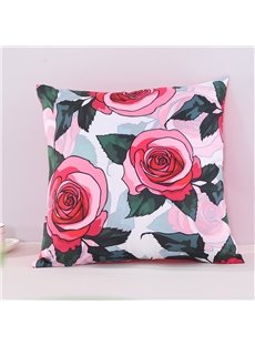 Red Roses and Green Leaves Pattern Decorative Square Polyester Throw Pillowcases