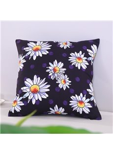 Picked Daisy Printed Decorative Square Polyester Throw Pillowcases