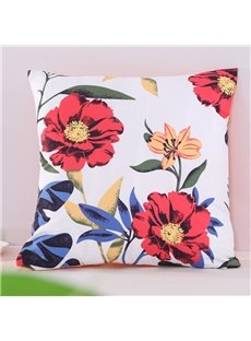 Orange Cosmos Flowers Pastoral Style Decorative Square Polyester Throw Pillowcases