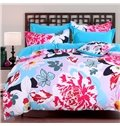 Adorila 60S Brocade Black White Butterflies and Pink Peony 4-Piece Cotton Bedding Sets