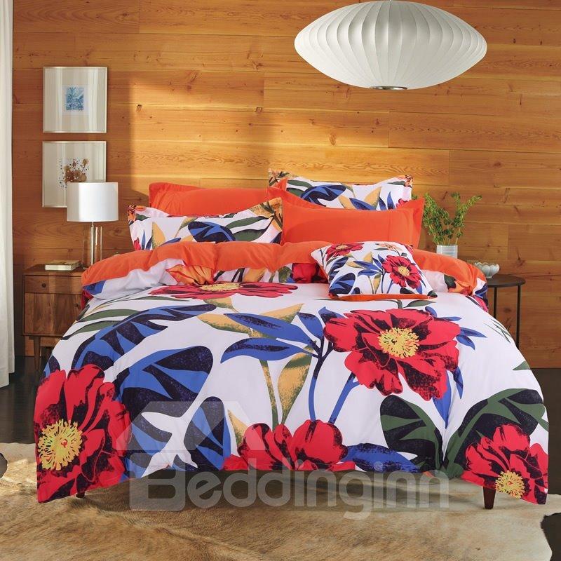 Adorila 60S Brocade Orange Cosmos Flowers Pastoral Style Cotton 4-Piece Bedding Sets