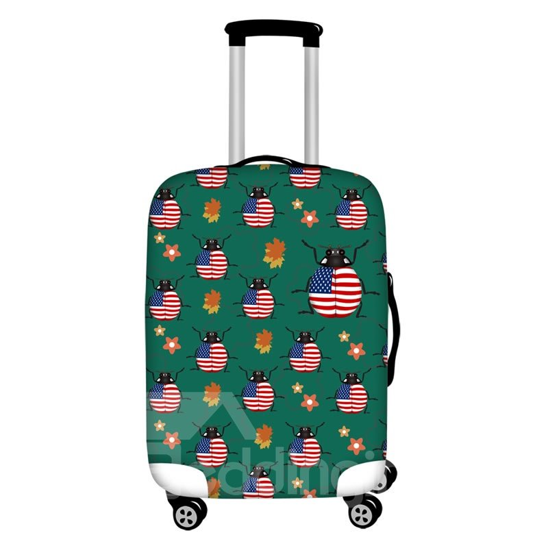 American Flag Pattern Ladybug Waterproof Suitcase Protector for 19 20 21