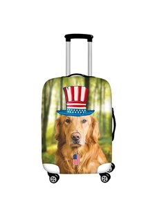 Golden Retriever with Flag Hat Waterproof Suitcase Protector for 19 20 21