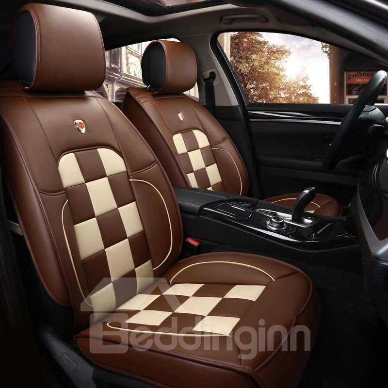 Sports Style Grid Design Durable Leather Universal Car Seat Cover