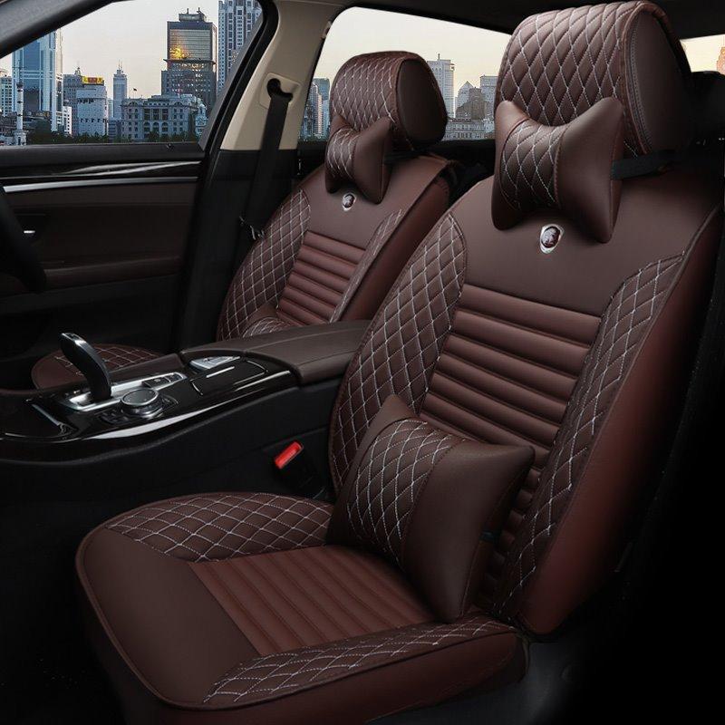 Luxurious Tasteful Colorful Elegant Shape Plaid Leather Universal Car Seat Cover