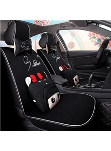 Luxe Edition Girly Beautiful Cartoon Good Permeability Flax Universal Car Seat Cover