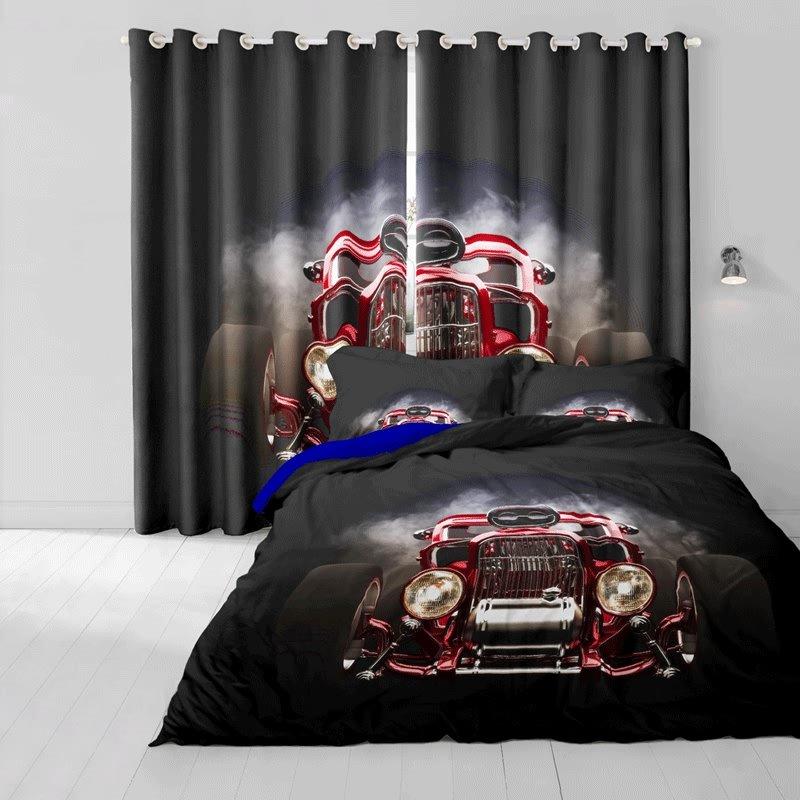 3D Retro Vintage Luxury Car Printed Cotton 4-Piece Bedding Sets/Duvet Cover