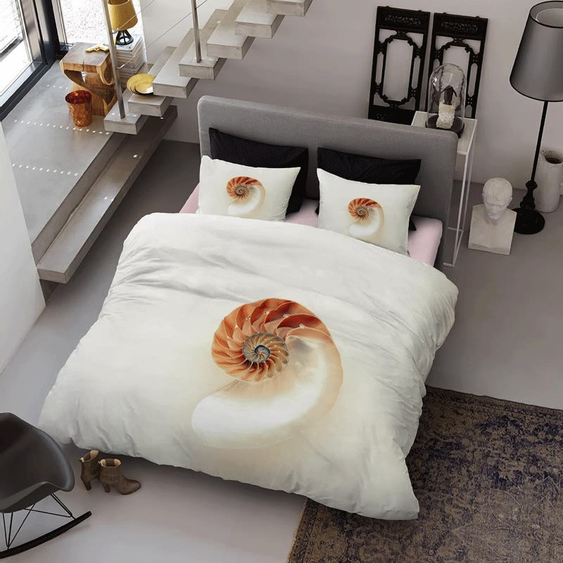3D Sea Conch Printed Minimalist Style Cotton 4-Piece Bedding Sets/Duvet Cover
