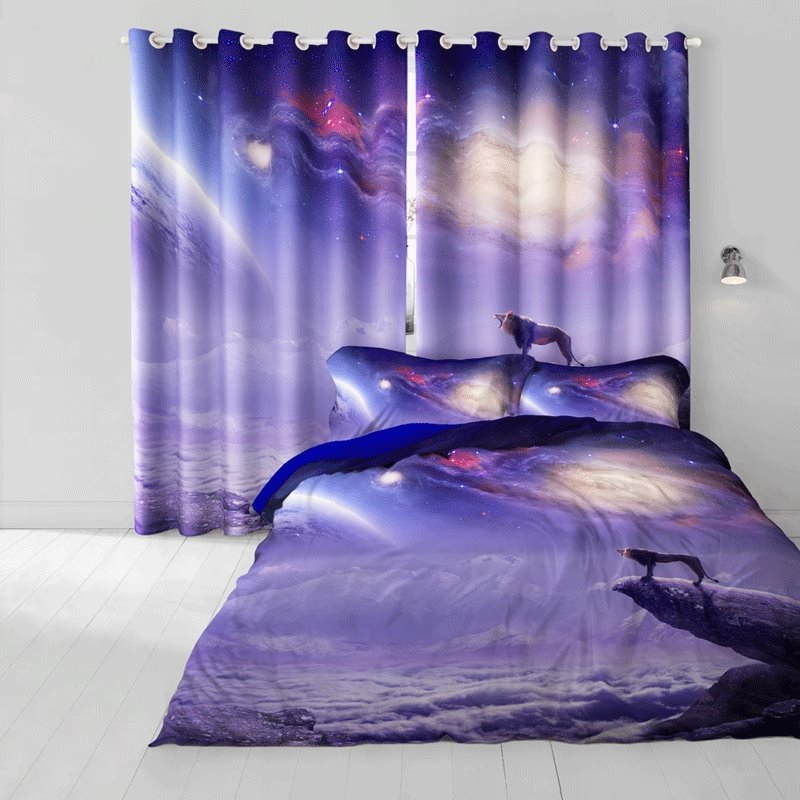 3D Wolf Howling at the Moon Printed Cotton 4-Piece Galaxy Bedding Sets/Duvet Cover