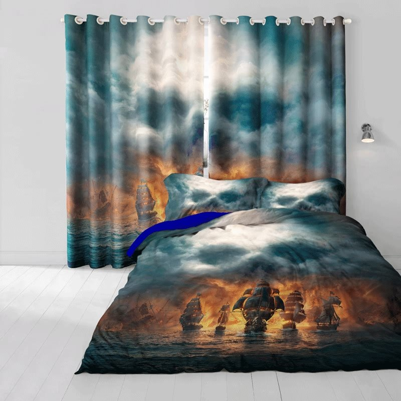 3D Pirate Ships and Skull Printed Cotton 4-Piece Bedding Sets/Duvet Cover