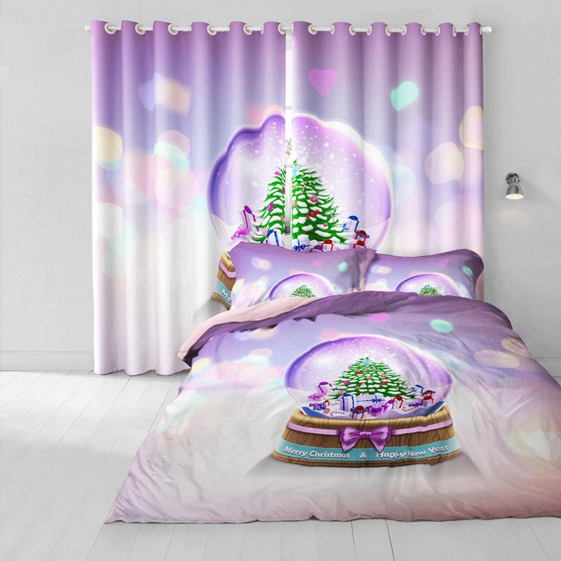 3D Christmas Tree Crystal Snow Ball Cotton 4-Piece Purple Bedding Sets/Duvet Cover