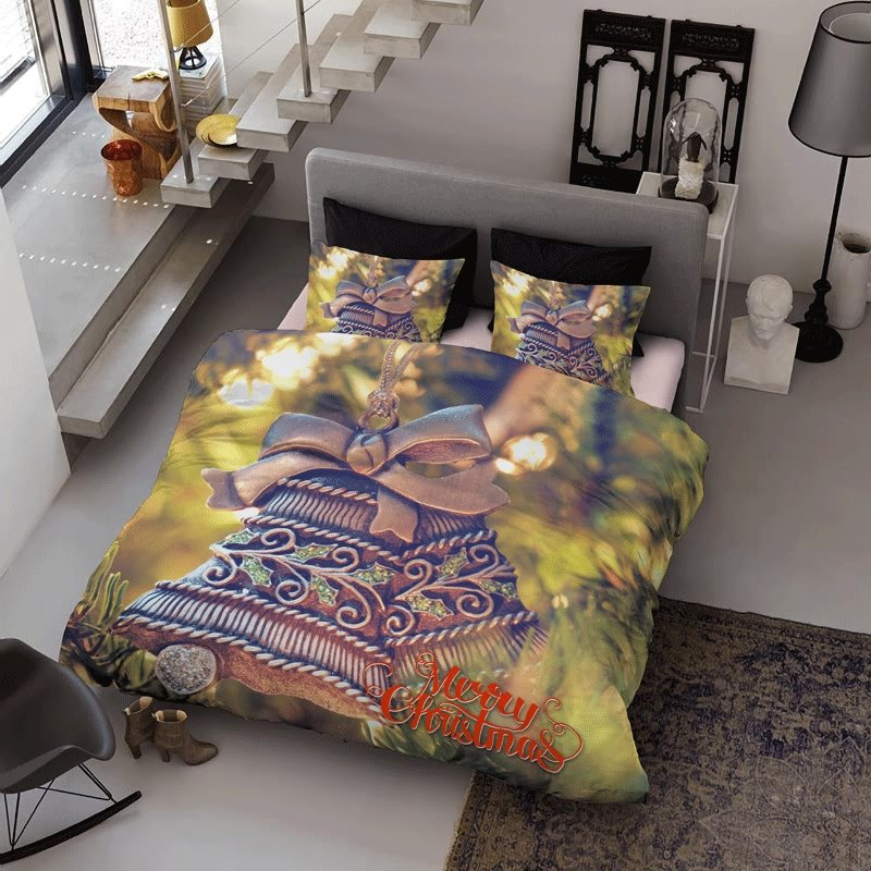 3D Christmas Bell Ornaments Printed Cotton 4-Piece Bedding Sets/Duvet Cover