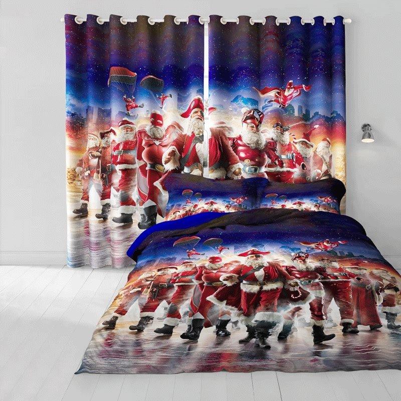 3D Santa Claus Cosplay Printed Cotton 4-Piece Christmas Bedding Sets/Duvet Cover