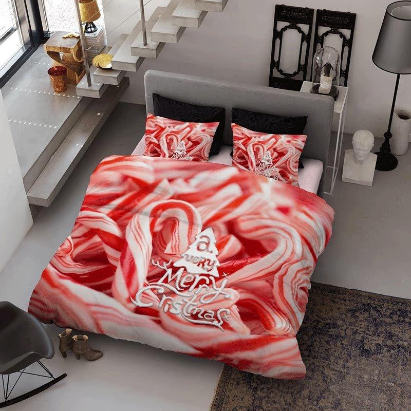 3D Christmas Candy Cane Printed Cotton 4-Piece Bedding Sets/Duvet Cover