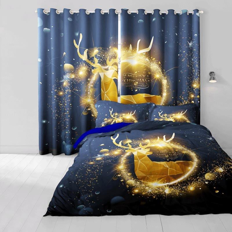 3D Merry Christmas Golden Reindeer Printed Cotton 4-Piece Bedding Sets/Duvet Cover