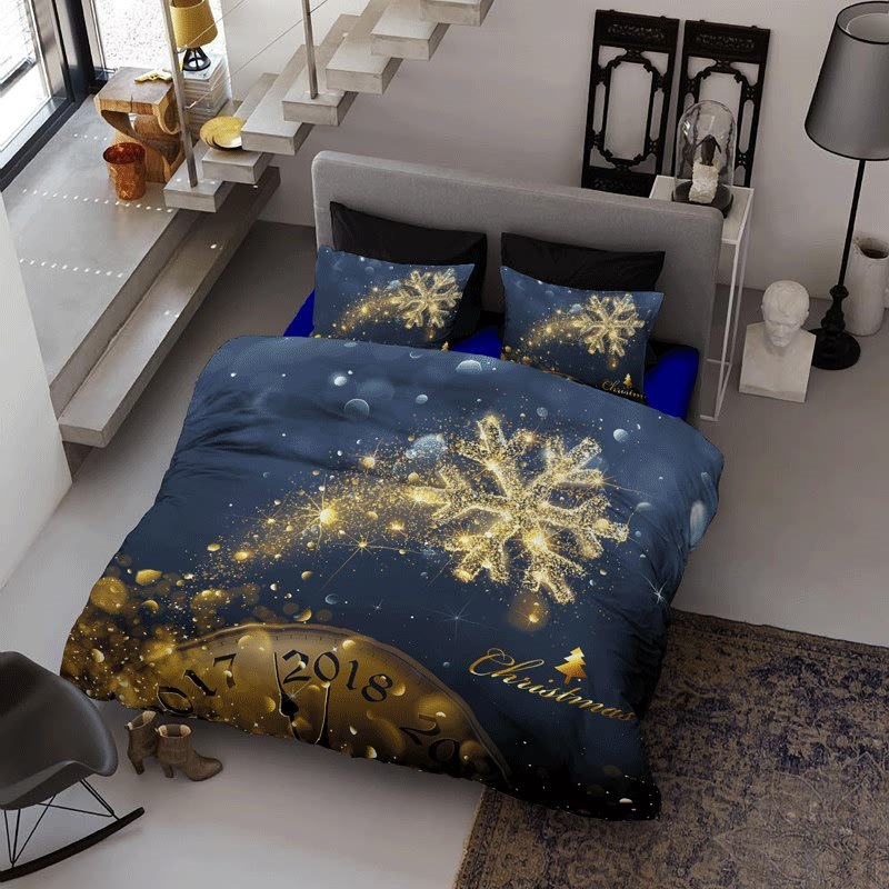 3D Golden Snowflake Christmas Time Printed Cotton 4-Piece Bedding Sets/Duvet Cover