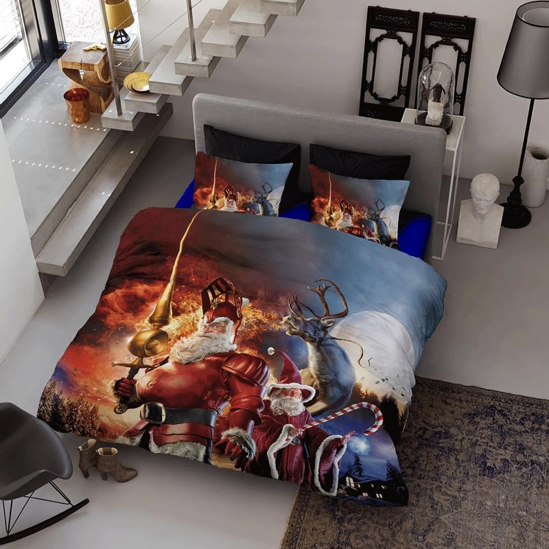 3D Santa Claus Knight Wizard and Reindeer Cotton 4-Piece Christmas Bedding Sets/Duvet Covers