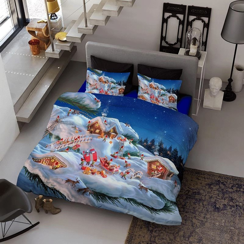 3D Merry Christmas Holiday Season Printed Cotton 4-Piece Bedding Sets/Duvet Cover