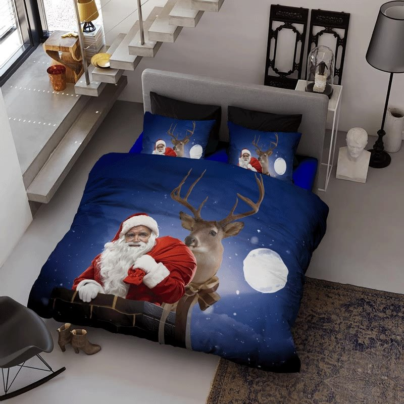 3D Santa Claus and Reindeer Christmas Night Cotton 4-Piece Bedding Sets/Duvet Covers