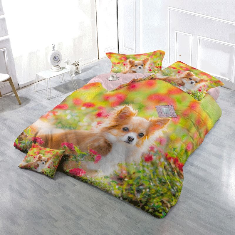 3D Pomeranian Dog and Spring Floral Printed Cotton 4-Piece Bedding Sets/Duvet Cover
