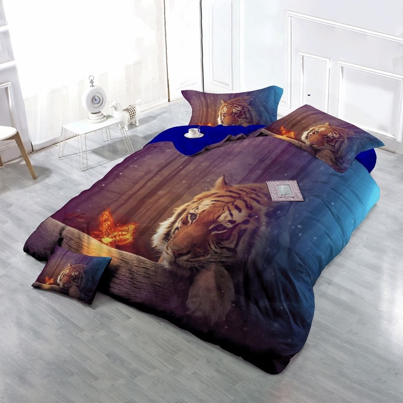 3D Tiger Watching Butterfly Printed Cotton 4-Piece Bedding Sets/Duvet Cover