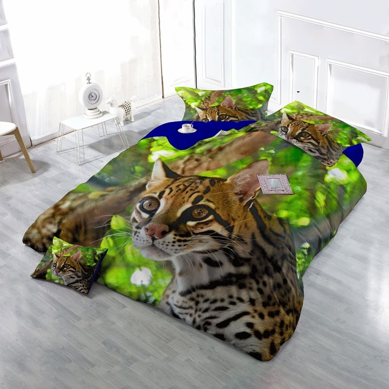 3D Ocelot in Rainforest Printed Cotton 4-Piece Bedding Sets/Duvet Cover