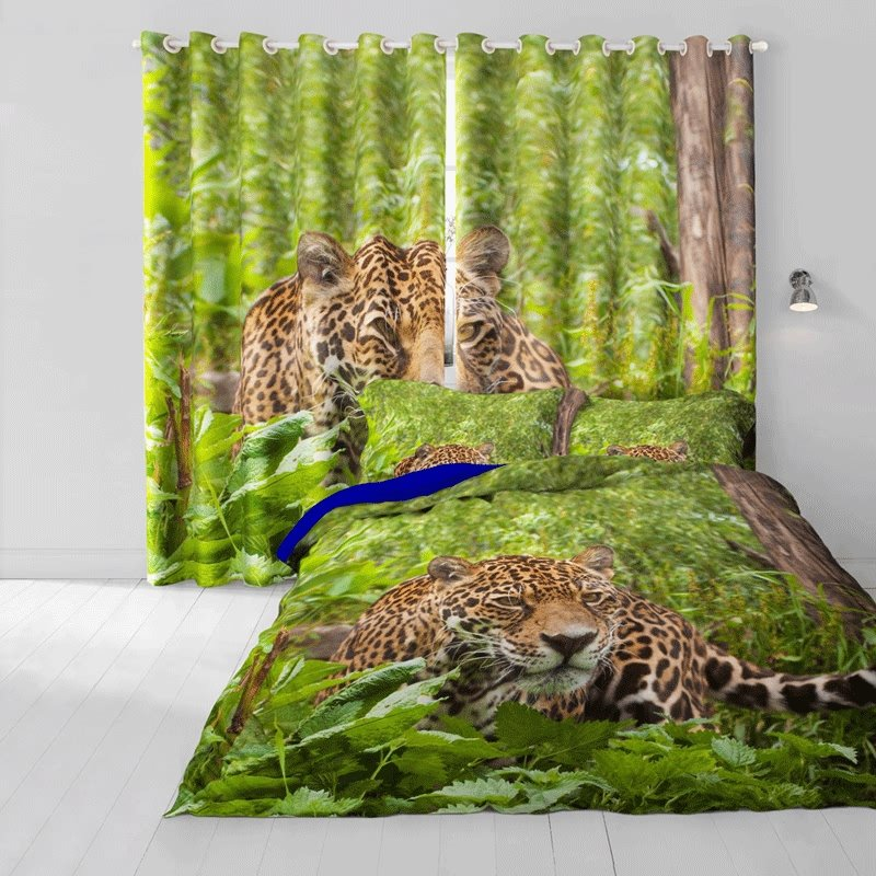 3D Leopard in Green Jungle Printed Cotton 4-Piece Bedding Sets/Duvet Cover