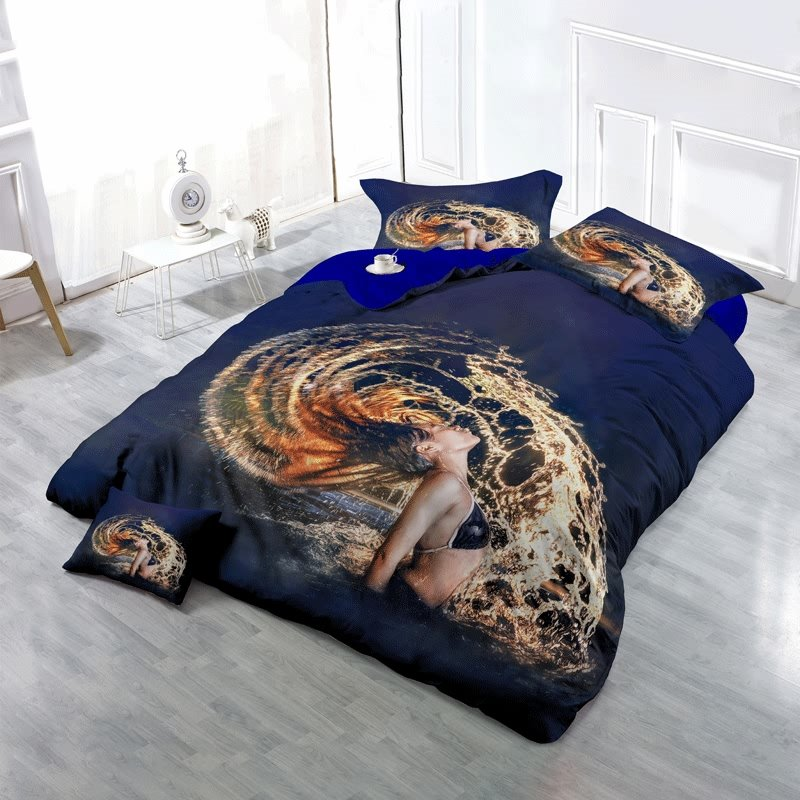 3D Girl Flipping Wet Hair Printed Cotton 4-Piece Bedding Sets/Duvet Cover