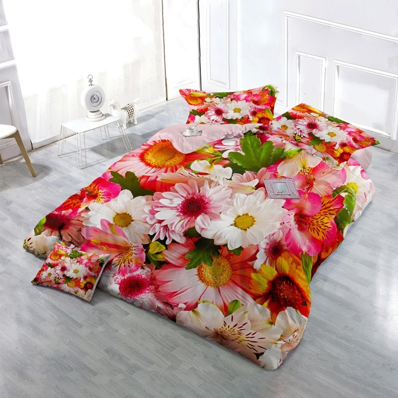 3D Colorful Barberton Daisies Floral Cotton 4-Piece Bedding Sets/Duvet Cover