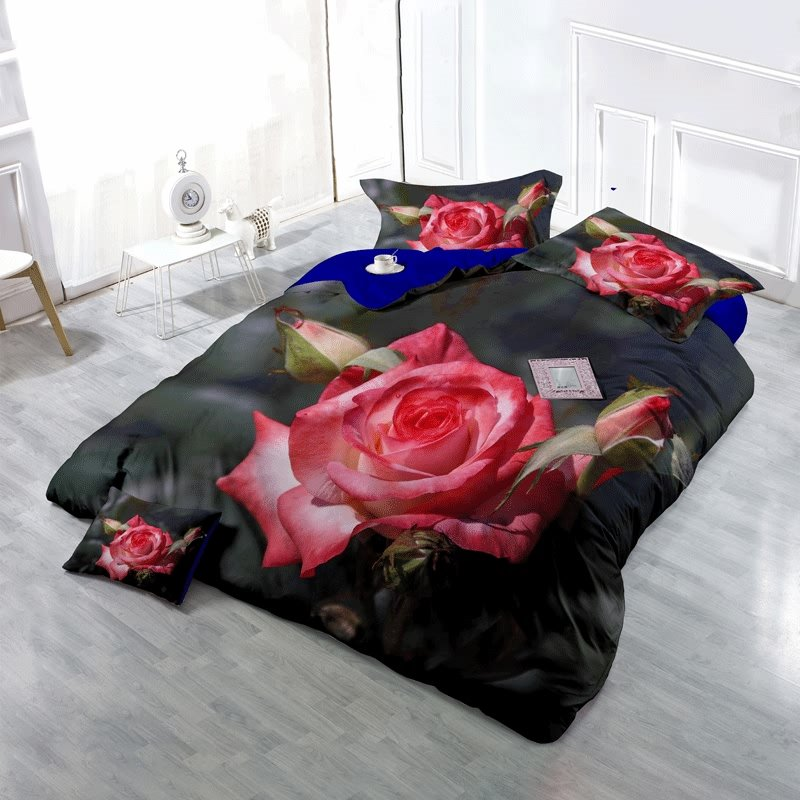 3D Full-blown Pink Rose and Bud Printed Cotton 4-Piece Bedding Sets/Duvet Cover