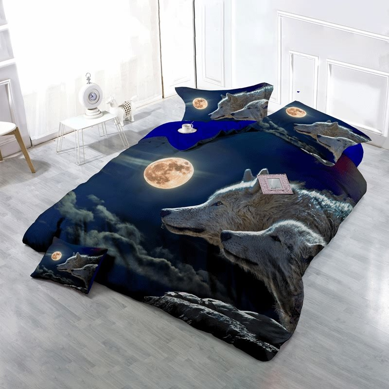 3D Wolves and the Moon Printed Cotton 4-Piece Bedding Sets/Duvet Cover