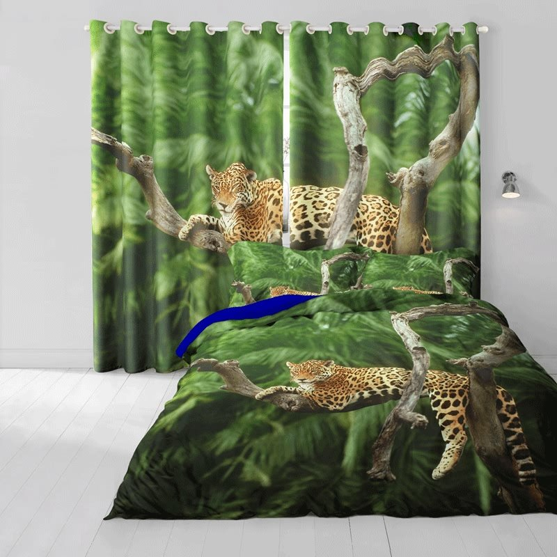 3D Leopard Resting on Tree Cotton 4-Piece Bedding Sets/Duvet Cover
