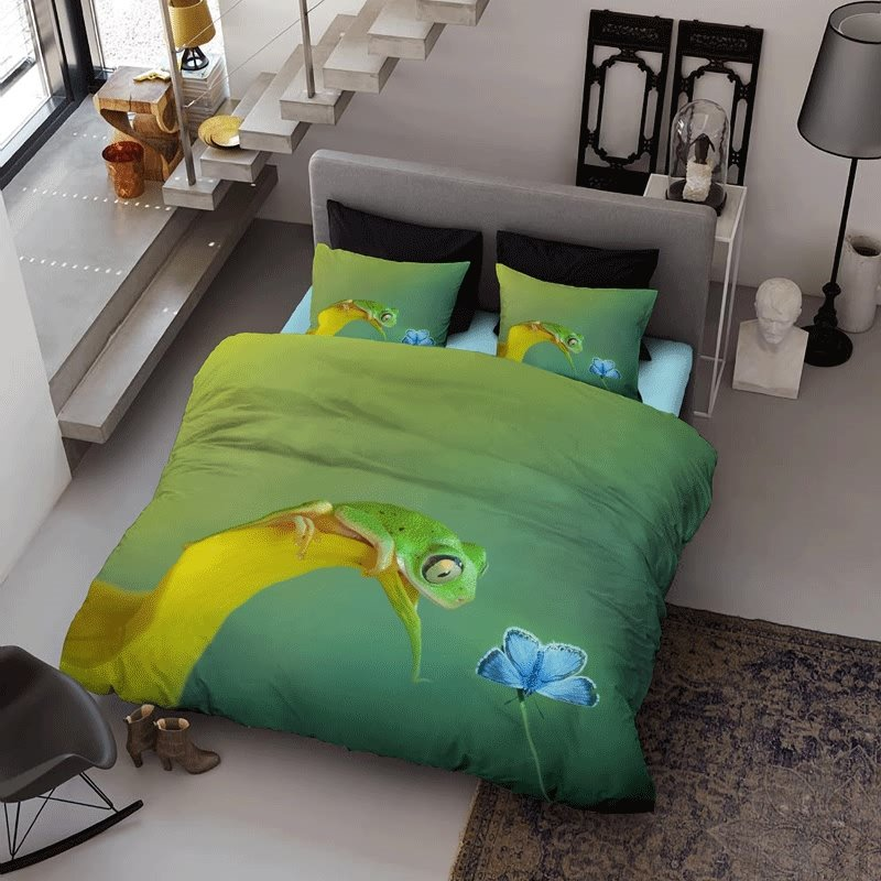 3D Frog and Butterfly Printed Cotton 4-Piece Green Bedding Sets/Duvet Cover