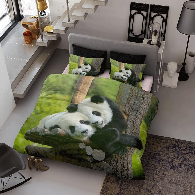3D Pandas Couple Printed Cotton 4-Piece Green Bedding Sets/Duvet Cover