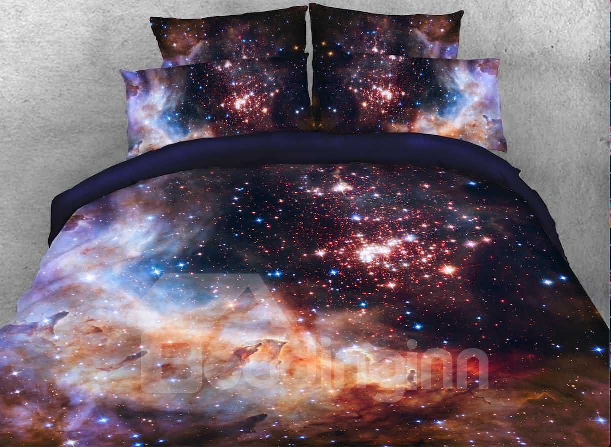 3d Galaxy Galactic Nebula Printed 5 Piece Comforter Sets Pic