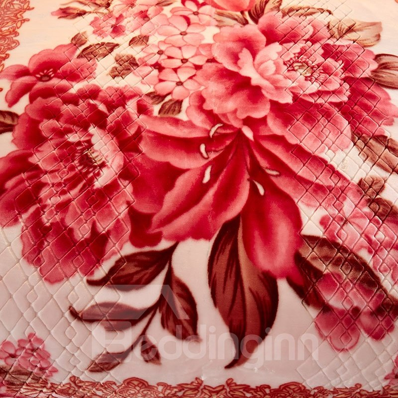 Pink Peonies Blossom Printed 2 Ply Reversible Heavy Plush Raschel Bed Blanket