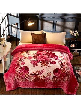 Red Flowers Blooming Printed 2 Ply Reversible Heavy Plush Raschel Bed Blanket