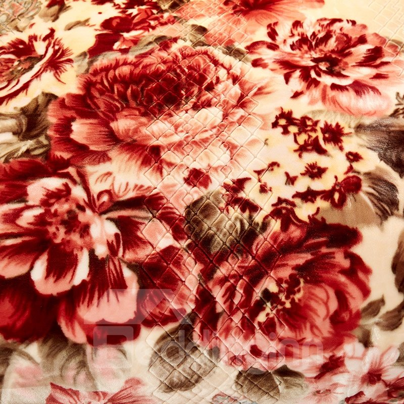 Flowers Blooming Printed Blue 2 Ply Reversible Heavy Plush Raschel Bed Blanket