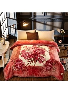 Floral Peonies Printed 2 Ply Reversible Heavy Plush Raschel Bed Blanket