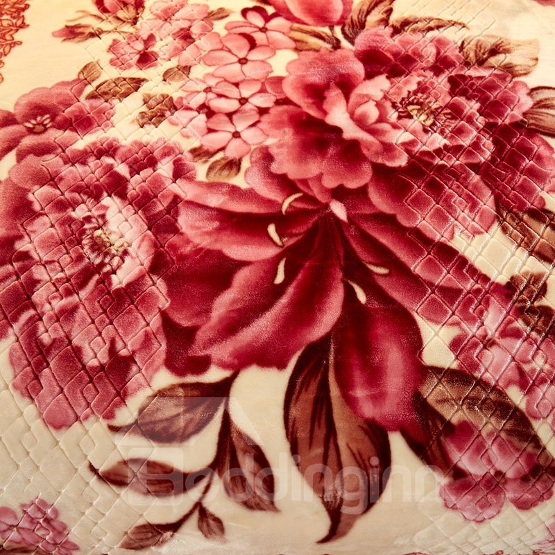 Floral Peonies Printed 2 Ply Reversible Heavy Plush Raschel Bed Blanket