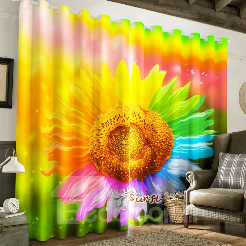 Colorful and Florid Chrysanthemum Printed 2 Panels Decorative and Blackout Curtain
