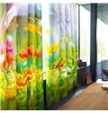 Creative Red Peonies and Purple Lavenders Printed 2 Pieces Living Room Curtain