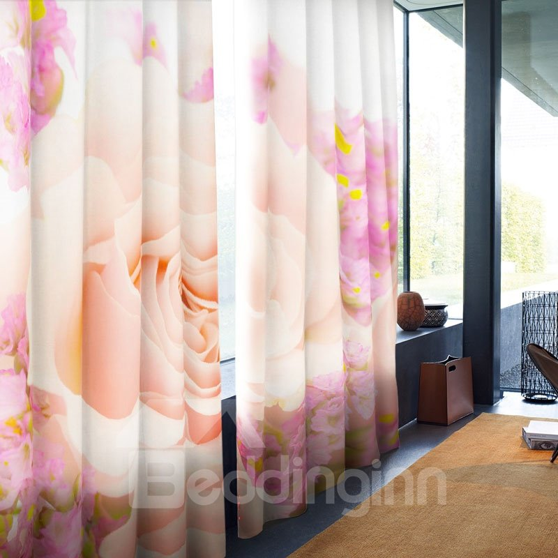 Fresh Light Pink Rose Printed 2 Panels Custom Living Room Window Drapes