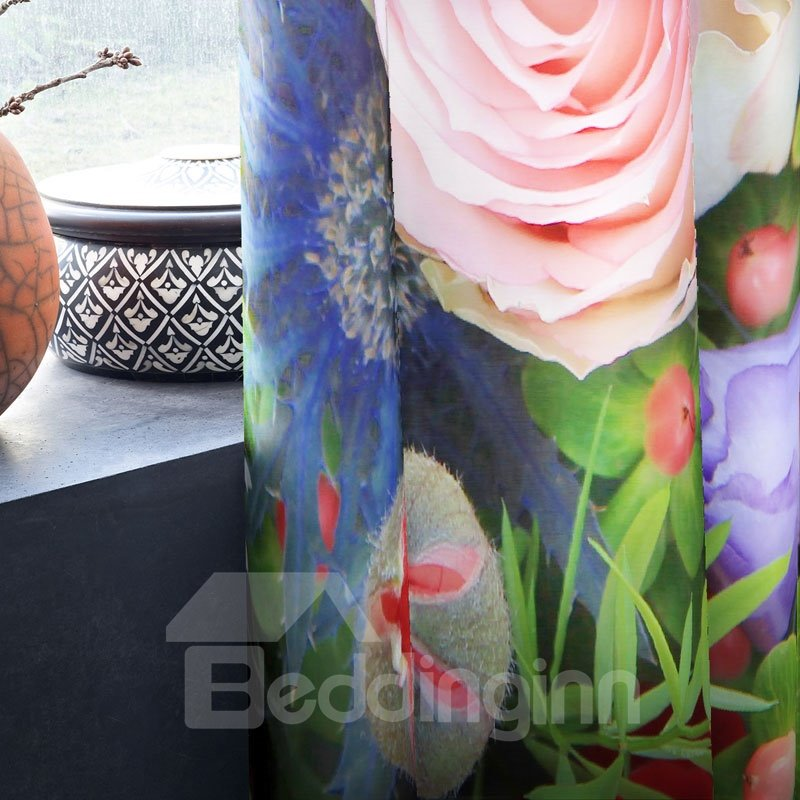 3D Colorful Roses Printed Pastoral Style 2 Panels Grommet Top for Living Room