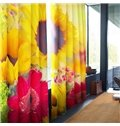 Bright Colorful Peonies Printed 2 Panels Grommet Top Curtain for Living Room