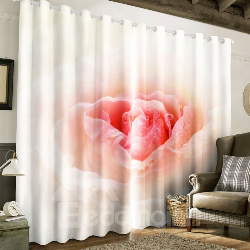 3D Fresh Pink Flowers Printed Pastoral Style 2 Panels Decorative Custom Curtain