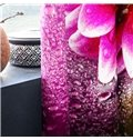 3D Blooming Dark Pink Peony with Dewdrops Printed 2 Panels Living Room Curtain
