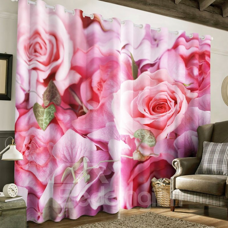 Beddinginn Romantic Pink Roses Printed Custom Panels Living Room Curtain And