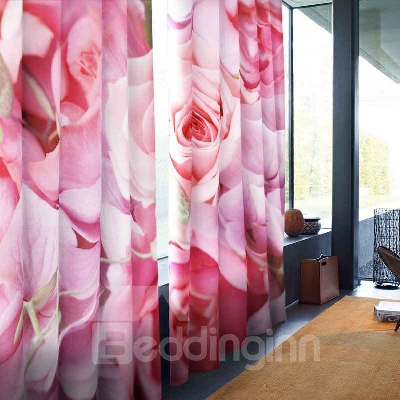 Cozy and Romantic Style Pink Roses Printed Custom 2 Panels Living Room Curtain